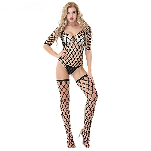 SZT Womens Lingerie Crotchless Stockings Fishnet Suspender Teddy Nightie Bodystockings Babydoll Bodysuits Nightwear On Sale Clearance (Black)