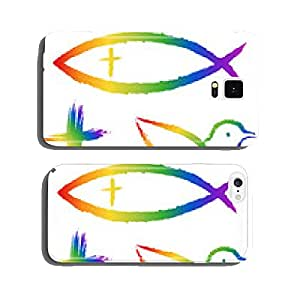 3 Christian symbols in rainbow colors: cross, fish, pigeon cell phone cover case iPhone5