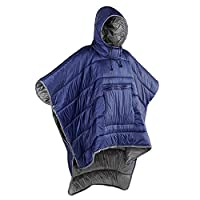 Gaorui Winter Poncho Coat Outdoor Camping Warmth Small Quilt Blanket Water-resisitant Sleeping Bag Cloak Cape with Hat for Adult Men Women ...