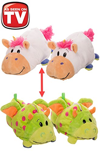 FlipaZoo Slippers Unicorn Transforming to Dragon Size Medium - Two in One Warm & Comfy Plush Slippers