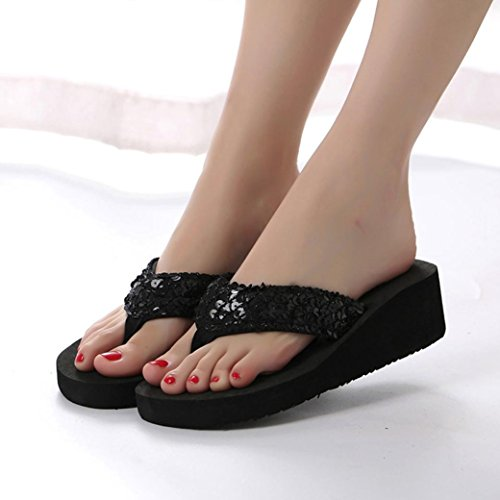 Flip Flops Black Hatop Slip Indoor amp; Sandals Sequins Slipper Womens Summer Anti Outdoor Slipper OwR7BOqP