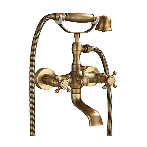 Rozin Wall Mounted Tel Shape Bathtub Faucet 2 Knobs Mixing Tap with Handheld Shower Antique Brass