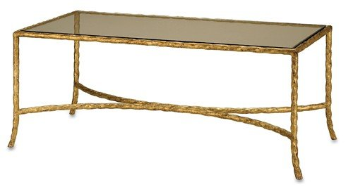 Currey and Company 4057 Gilt Twist Rectangular Table, Gilt Bronze Finish