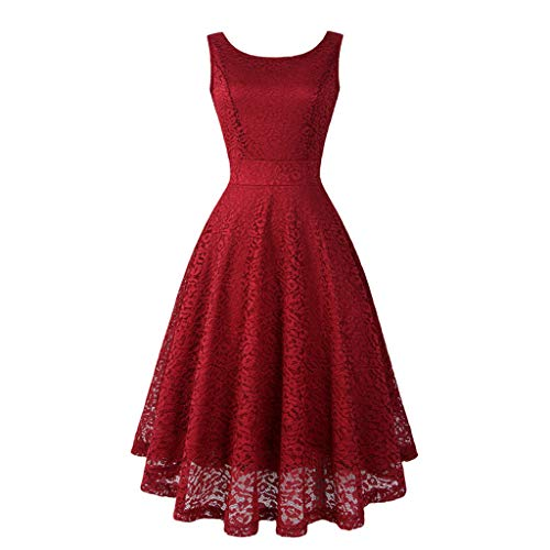 Pengy Women's 90s Vintage Lace Dress Solid Spring Vintage Country Rock Cocktail Dress Lace Bridesmaid Party Dress for Lady ()