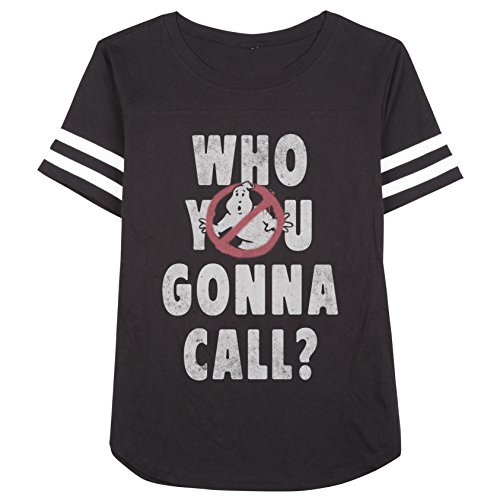 Ghostbusters Who You Gonna Call Juniors Striped Sleeves Black T-shirt L