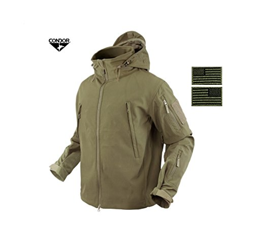 Condor 602 Summit Soft Shell Jacket, Tan + 2 FREE Matching Tan/Black Velcro Flag Patches (XX-Large) Condor Wash