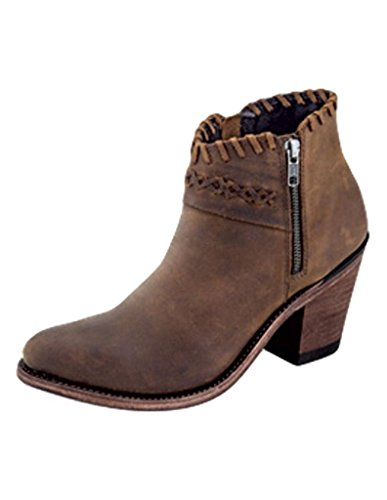 Old West Fashion Boots Women Side Zip Ankle Goodyear 8.5 M Brown 18150