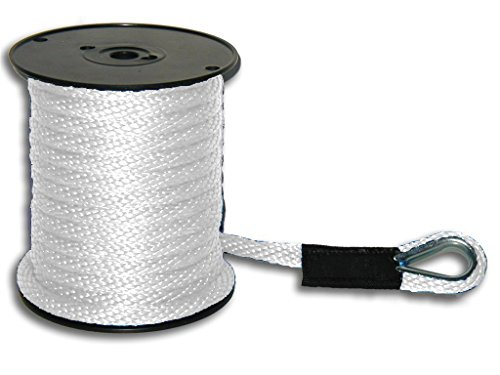 50' White Nylon Rope - 8