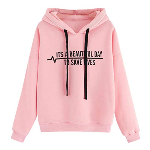 Dainzuy Women's Pullover Letter Flag Printed Hoodies Drawstring Casual Comfy Tops Blouse Hooded Sweatshirt Pink (Dc Lined Sweatshirt)