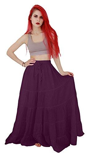 (Billy's Thai Shop Cotton Maxi Skirt Boho Hippie Skirt Long Skirts for Women, Violet, One)