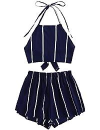 Women's 2 Piece Outfits Halter Sleeveless Crop Cami Top...