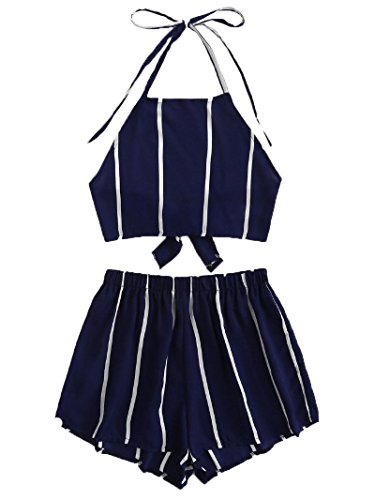 SweatyRocks Women's 2 Piece Outfits Short Sleeve Striped Crop Tee Top with Shorts 2-Navy M