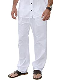 Cotton White Pants Summer Beach Elastic Waistband Casual Pants
