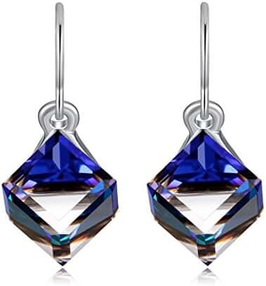 Color Change Earrings Heart Of Ocean Blue Drop Earrings with Austria Cube Crystal by Richapex