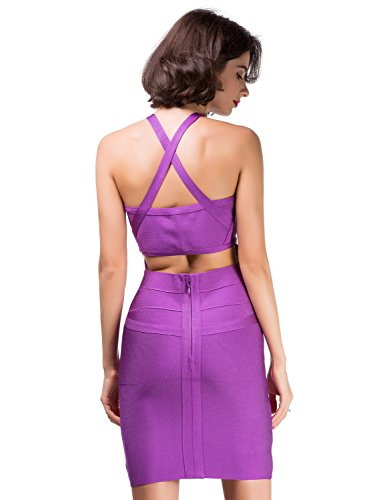 Honda Mujers Bandage Corte Mangas Vestido amp; Elmer Bajo Vestido Club Bodycon Sin Rayon para Mujer Party Dress Purple Alice Celebrity CqEIPwC