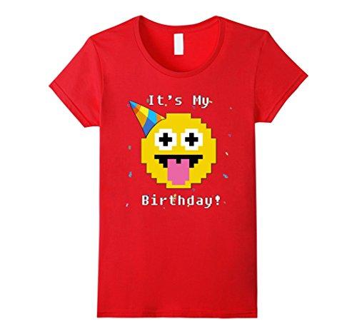 Womens It's My Birthday Emoji Funny Gift T-Shirt - Happy Bday Party Medium Red