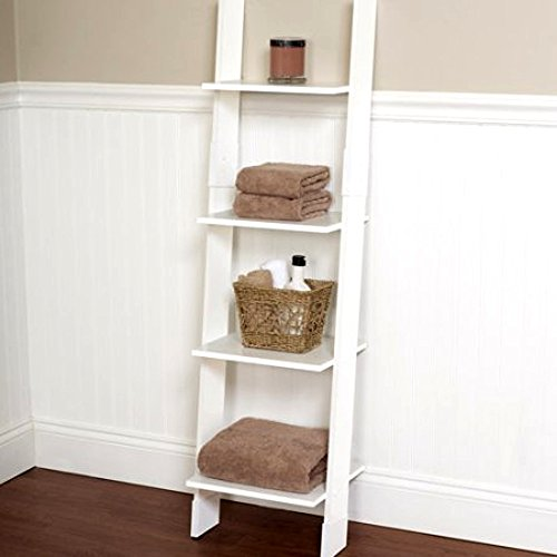 White Bathroom Linen Tower Ladder, Tall Storage Rack , Slim Vanity Shelf Ladder Small Bath Tower Spacesaver & E-Book - Slim Vanity