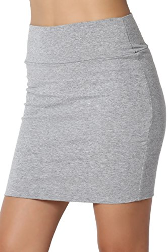 TheMogan Junior's Stretch Cotton Jersey Lined Bodycon Tube Mini Skirt Heather Grey L -