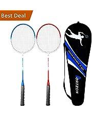 Sparen Sie auf Portzon Premium Badmintonschläger-Set mit Metalllegierung und Nylon-Kabel, ovaler Rahmen, für drinnen und draußen, mit Tragetasche – für Offensive und Verteidigungsspieler, gut für alle Levels