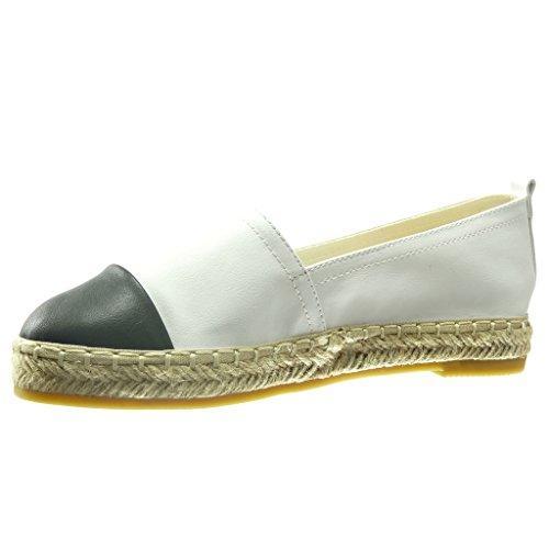 Absatz Schuhe Damenmode cm Weiß Flacher Angkorly Material Espadrilles Mocassins 2 Bi Cord RnW8vW