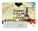 Gaming Mouse Pad Keep Calm and Love Eiffel Tower for Desktop and Laptop 1 Pack 700x300x3mm/27.5x11.7x1.1 in