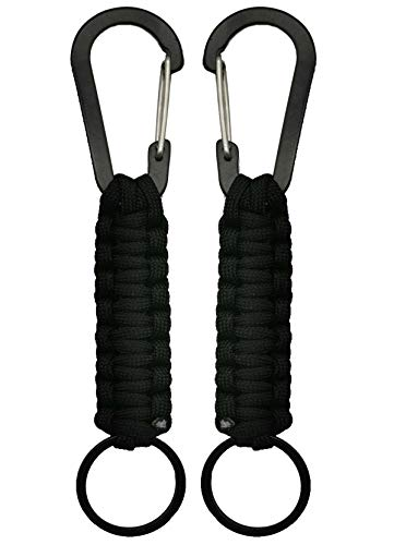 Paracord Keychain with Carabiner Military Braided Lanyard Ring Hook Clip for Keys Knife Flashlight for Outdoor Camping Hiking Backpack 2 Pack