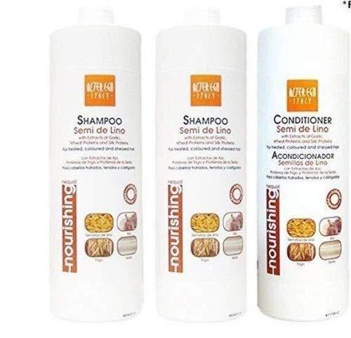 Alter Ego Semi De Lino Shampoo 2pack & Alter Ego Semi De Lino Conditioner Combo Set (Care Hair Ego Alter)