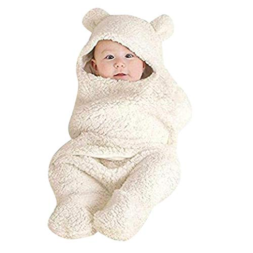 Price comparison product image Pocciol Clearance / Newborn Baby Cute Cotton Receiving White Sleeping Blanket Boy Girl Wrap Swaddle (White,  0-12 Months)