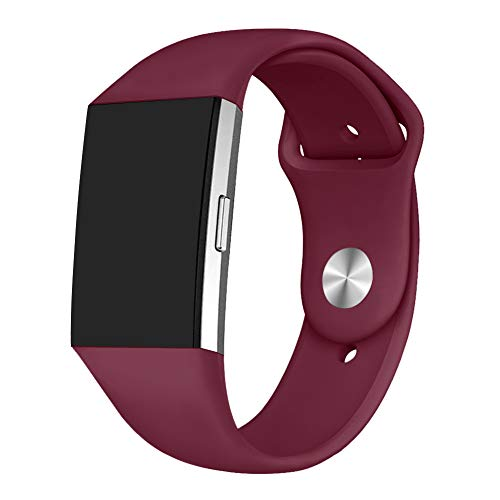 GHIJKL Sports Band Compatible Fitbit Charge 2, Soft Silicone Replacement Wristband for Fitbit Charge 2,Women Men, Large, Wine Red