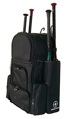 Top Softball Bats - New Design Large Vista L in Solid Black Adult Softball Baseball Bat Equipment Backpack with Innovative Removable Bat Sleeves and Embroidery Patch