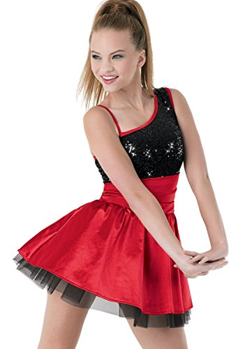 Balera Asymmetrical Sequin and Satin Dance Dress with Petticoat and Built-In Brief Red Child Small (Cummerbund Costume)