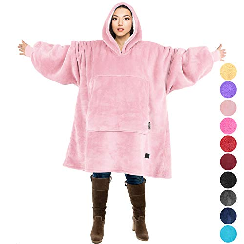 - Tirrinia Reversible Micro Fleece Sherpa Oversized Blanket Sweatshirt with Giant Pocket, for Adults and College Students, Outdoor, Indoor,Reversible, Hood, Oversized, Pink