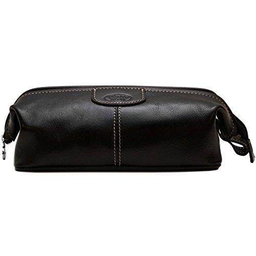 (Floto Venezia Dopp Kit in Black Full Grain Leather)