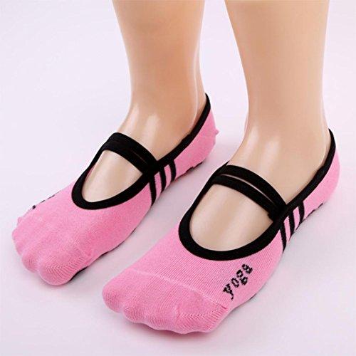 Fishnet Platform (Sinwo 1 Pair Yoga Fitness Socks Sport Socks Non Slip Pilates Massage Ballet Socks Exercise Gym (Pink))