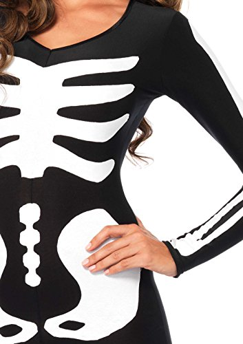 Leg Avenue Women's Spandex Printed Glow-In-The-Dark Skeleton Catsuit, Black/White, Small