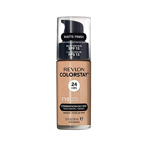 Revlon Colorstay Liquid Foundation Makeup with Pump 110 Ivory Combination/Oily Skin,1 Fl Oz