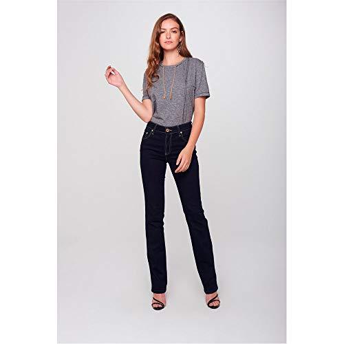 Calça Jeans Reta Básica Recortes Bolsos Tam: 42 / Cor: Blue