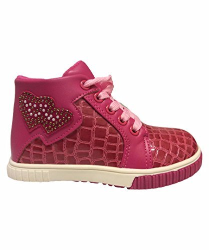 De Chica Botines encaje efecto cocodrilo Zapatillas de deporte - Fucsia, EU 31 (UK. Bona