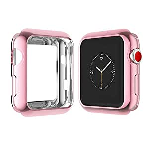 Apple Watch Case for Series 3, Series 2, Series 1 38mm 42mm, Icesnail Apple Watch Plate Soft Slim Protective Cover Bumper for iWatch Nike+, Sport, Edition All Models, 42mm Rose
