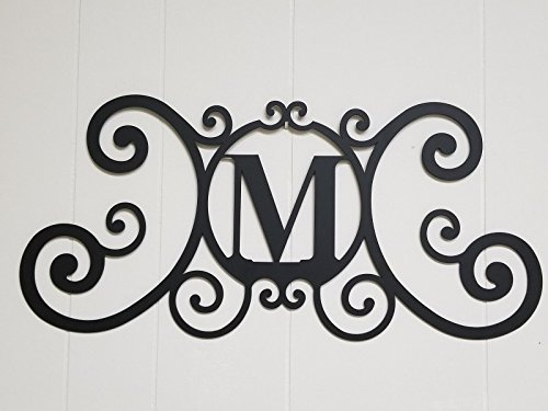 BookishBunny Monogram Initial Letter A-Z Wrought Iron Metal Scrolled Door Wall Decoration Plaque Art, 24 x 11 inch 2mm Thick (M) (Initials Letters Decor Home)