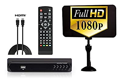 Digital Converter Box + Flat Antenna + HDMI Cable for Recording & Watching Full HD Digital Channels for FREE (Instant & Scheduled Recording, 1080P, HDMI Output, 7 Day Program Guide & LCD Screen)