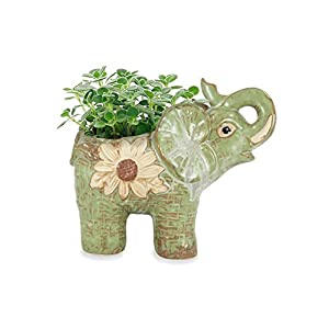 Dahlia Daisy Elephant Handmade Ceramic Succulent Planter/Plant Pot/Flower Pot, Daughter