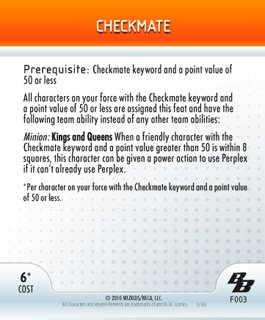DC Heroclix Brave and the Bold Checkmate Feat Card (Card Feat)