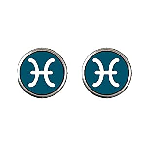 Chicforest Silver Plated Pisces Zodiac Photo Stud Earrings 10mm Diameter