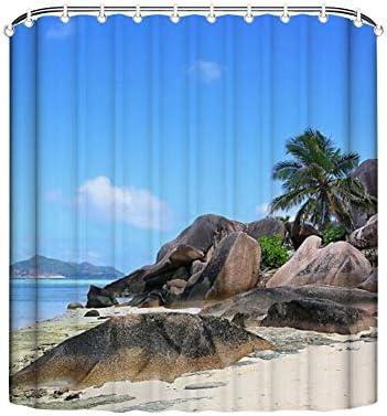 Clare Moulton Cortina de Ducha de Paisaje Natural Seychelles, Playa, Roca, Palmeras, mar, Arena, montañas, Nubes Tropicales de Verano: Amazon.es: Hogar