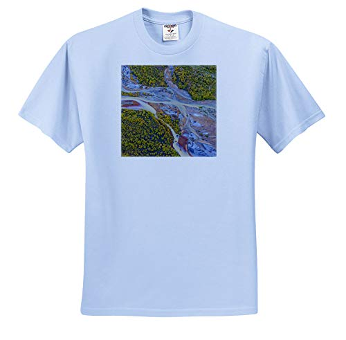 Alaska Aerial Photo - 3dRose Danita Delimont - Abstracts - USA, Alaska, Brooks Range, ANWR, Aerial of Ivishak River. - Toddler Light-Blue-T-Shirt (4T) (ts_314463_65)