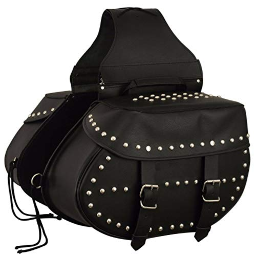 MOTORCYCLE REAL LEATHER TWO PIECE STUDDED SADDLEBAG ZIP OFF - Leather Studded Saddlebags