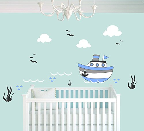 Series Boat Decals (Boat Seaweed Clouds Fishes And Birds Animal Series - Baby Boy - Wall Decal Nursery For Home Bedroom Children (711) (Wide 22