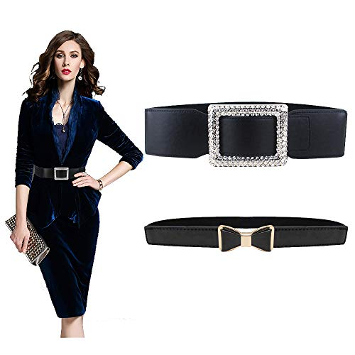 VITORIA'S GIFT Fashion Women Belt Solid Round Shape Buckle Waist Belt Casual Leather Belts for Women Strap Brand Classic Belt (Diamond-Bow-2pcs)