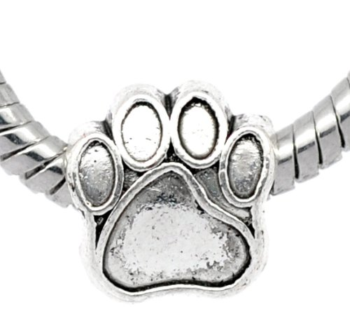 1x Antique Silver Paw Charm Bead will fit on Pandora/Troll/Chamilia European Type Bracelets 11mm LF B10404
